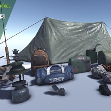 野外生存科学考察勘探五金工具+帐篷unity模型素材包!Survival Prop Pack V1.1